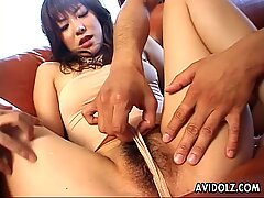 Gorgeous Japanese chick in a wild MMF threesome